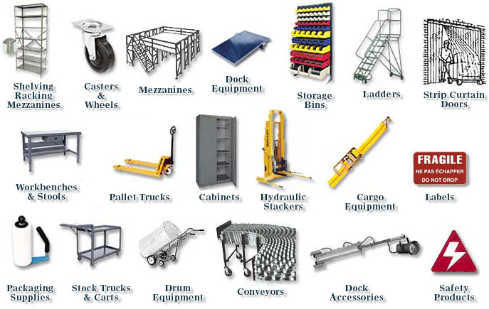 Industrial supply, material handling, warehouse equipment, storage equipment